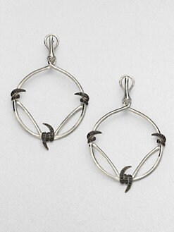 Stephen Webster - Black Sapphire & Sterling Silver Hoop Drop Earrings