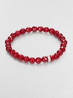Sydney Evan - Red Agate Beaded Stretch Bracelet