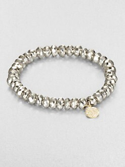 Sydney Evan - Pyrite Beaded Mini Disc Stretch Bracelet