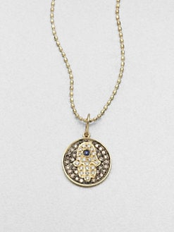 Sydney Evan - Diamond, Sapphire & 14K Gold Hamsa Medallion Necklace