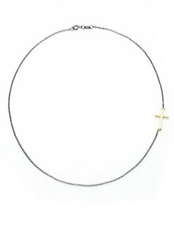 Mizuki - 14K Yellow Gold and Sterling Silver Side Cross Necklace