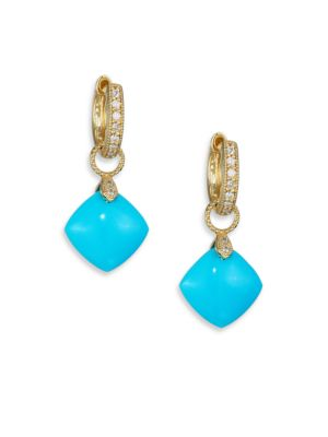 Classic Turquoise, Diamond & 18K Yellow Gold Cushion Earring Charms