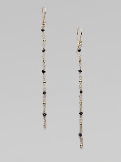 Mizuki - Rough Black Diamond 14K Gold Chain Earring
