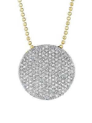 PHILLIPS HOUSE Pavé Diamond & 14K Yellow Gold Infinity Disc Pendant Necklace