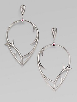 Stephen Webster - Ruby & Sterling Silver Thorn Earrings
