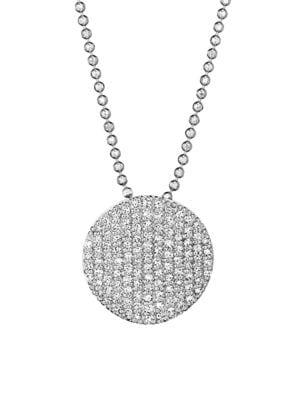Pavé Diamond & 14K White Gold Infinity Disc Pendant Necklace