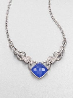 Stephen Webster - Diamond & Blue Agate Forget Me Knot Necklace