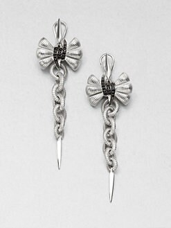 Stephen Webster - Black Sapphire and Sterling Silver Bow Drop Earrings