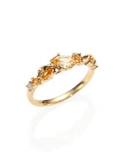 Alexis Bittar Fine - Grey Diamond, Brown Diamond, Citrine & 18K Yellow Gold Ring