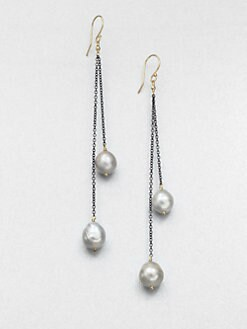 Mizuki - 6MM & 9MM Baroque South Sea Pearl & 14K Gold  Drop Earrings