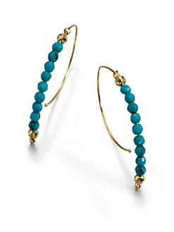 Mizuki - 14K Gold & Turquoise Half Hoop Earrings