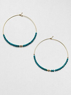 Mizuki - Turquoise Beaded Hoop Earrings