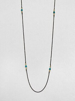 Mizuki - Turquoise & 14K Gold Station Necklace