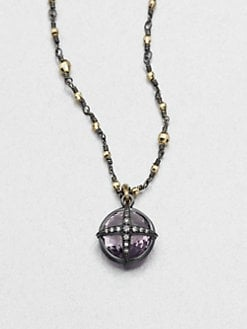 Mizuki - Rose De France Amethyst & Diamond Pendant Necklace