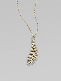 Mizuki - Diamond and 14K Yellow Gold Feather Necklace