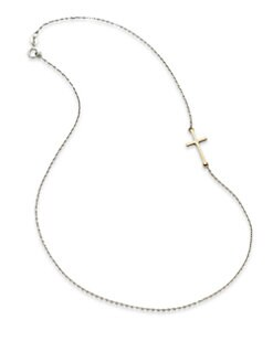 Mizuki - 14K Yellow Gold and Sterling Silver Cross Necklace