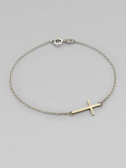 Mizuki - 14K Yellow Gold and Sterling Silver Cross Bracelet