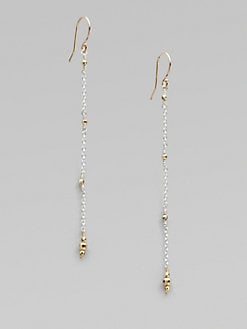 Mizuki - Sterling Silver and 14K Yellow Gold Chain Earrings