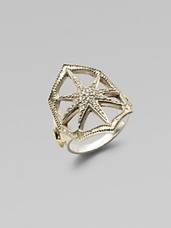 Mizuki - Diamond, Sterling Silver and 14K Yellow Gold Star Ring