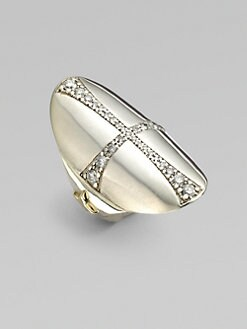 Mizuki - Diamond, Sterling Silver and 14K Yellow Gold Cross Ring