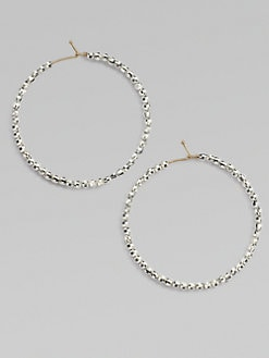 Mizuki - Sterling Silver and 14K Yellow Gold Beaded Hoop Earrings/1½
