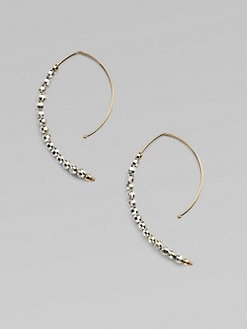 Mizuki - 14K Yellow Gold and Sterling Silver Arc Earrings