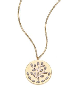 Diamond & 14K Yellow & White Gold Tree of Life Necklace