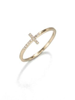 Sydney Evan - Diamond & 14K Yellow Gold Cross Ring