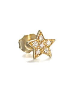 Sydney Evan - Diamond & 14K Yellow Gold Star Single Stud Earring