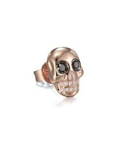 Sydney Evan - Black Diamond & 14K Rose Gold Skull Single Stud Earring