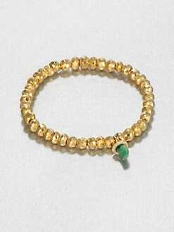Sydney Evan - Jade, Diamond & 14K Yellow Gold Pyrite Beaded Stretch Bracelet