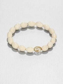 Sydney Evan - Diamond & 14K Yellow Gold Mammoth Bone Beaded Stretch Bracelet