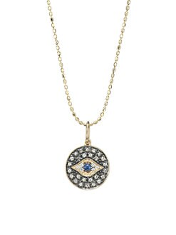 Sydney Evan - Diamond & 14K Gold Small Evil Eye Medallion Pendant Necklace