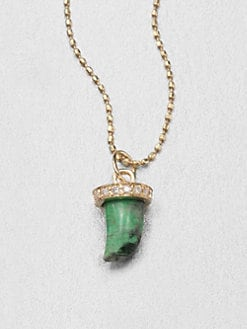 Sydney Evan - Diamond & 14K Yellow Gold Green Jade Horn Pendant Necklace