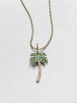 Sydney Evan - Emerald, Diamond & 14K Gold Palm Tree Pendant Necklace
