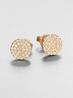 KALAN by Suzanne Kalan - 14K Gold & White Sapphire Disc Stud Earrings