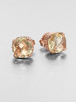 KALAN by Suzanne Kalan - Lemon Quartz & 14K Rose Gold Stud Earrings
