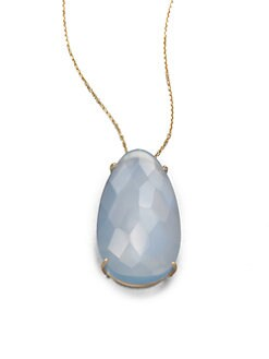 KALAN by Suzanne Kalan - Blue Agate & 14K Gold Pendant Necklace