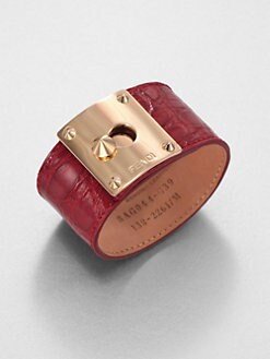 Fendi - Crocodile-Embossed Leather Cuff Bracelet/Rose Goldtone