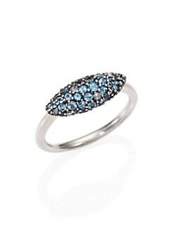Alexis Bittar Fine - Silver Lake Marquis Grey Diamond, Blue Zircon & Sterling Silver Ring
