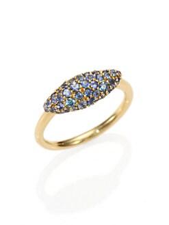 Alexis Bittar Fine - Sandy Beach Marquis Blue Grey Sapphire & 18K Yellow Gold Ring