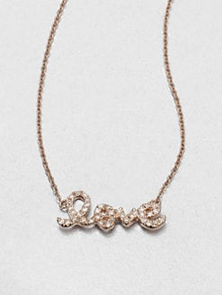 Sydney Evan - Diamond Accented Love Pendant Necklace/Rose Gold
