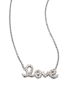 Sydney Evan - Diamond Accented Love Pendant Necklace/14K White Gold