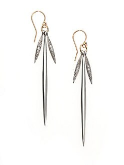 Mizuki - Diamond, Sterling Silver & 14K Yellow Gold Icicle Drop Earrings
