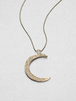 Sydney Evan - Diamond Accented 14K Gold Moon Pendant Necklace