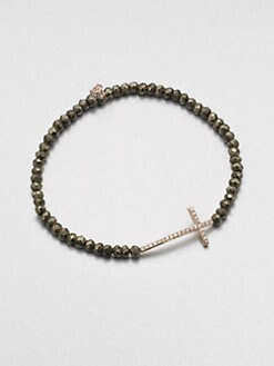 Sydney Evan - Diamond & 14K Rose Gold Accented Pyrite Beaded Bracelet
