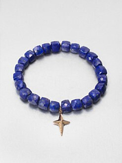 Sydney Evan - Diamond & 14K Gold Accented Lapis Beaded Bracelet