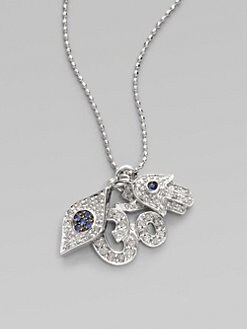 Sydney Evan - Diamond, Blue Sapphire & 14K White Gold Trio Necklace