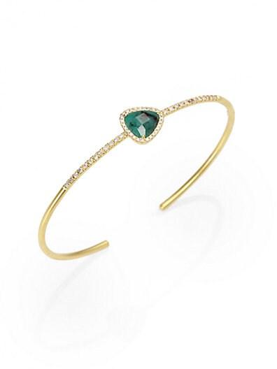 Meira T Emerald, Diamond & 14K Gold Bangle Bracelet   Gold