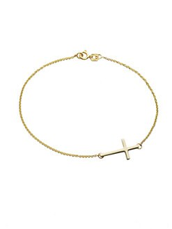 Mizuki - 14K Yellow Gold Side Cross Bracelet